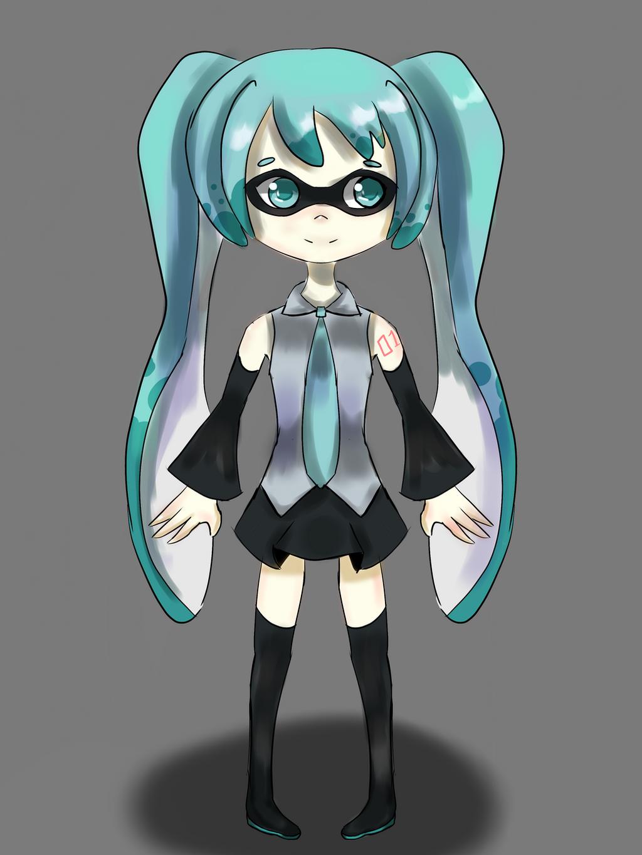 Hatsune miku (splatoon version) by larisa203