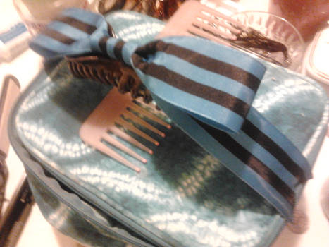Large Blue Striped Bow