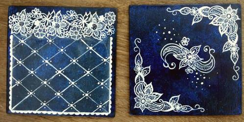 Acrylic Lace Designs on Coasters by Akira-Miyashi