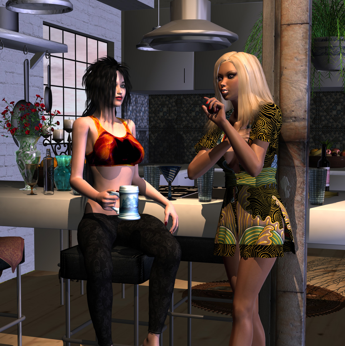 Lourdes and Gaetania in the kitchen by LuckyLilith