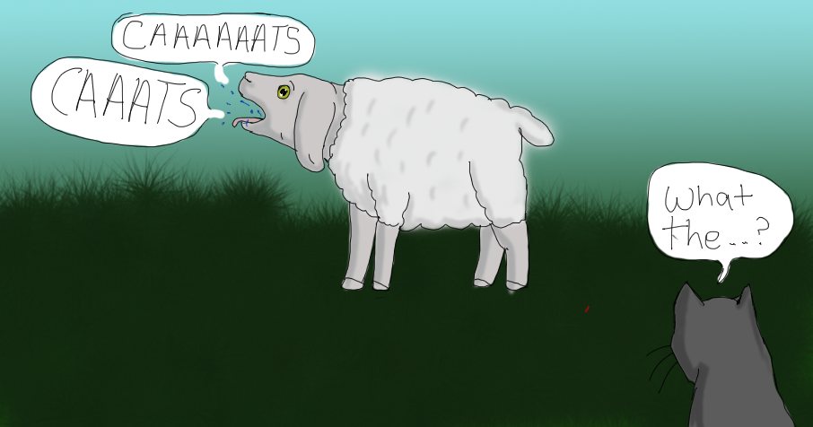 Sheep controlled by a cat loving parasite.. by Celtic-Tigeress