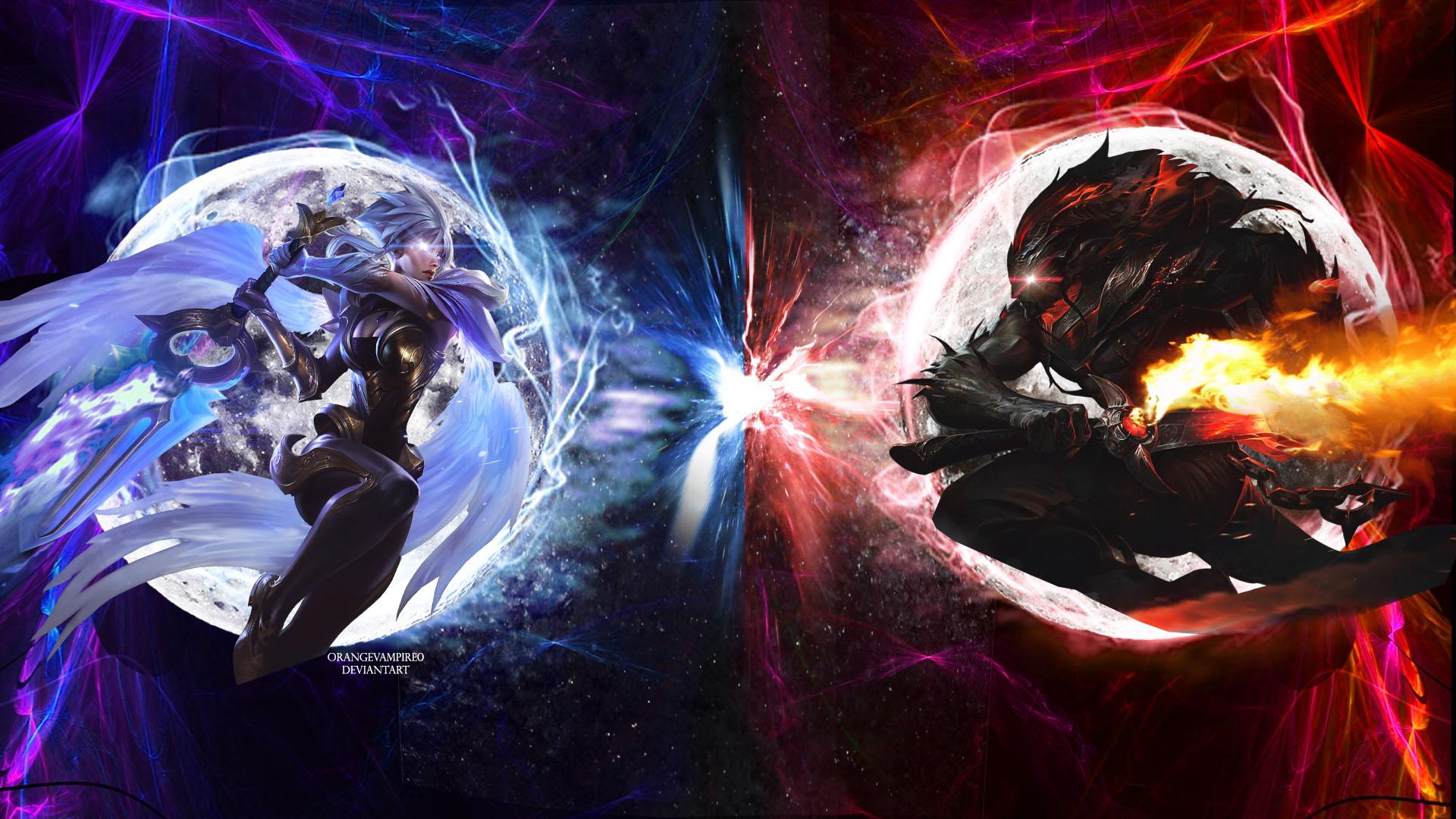 riven vs yasuo (light vs darkness) wallpaperorangevampire0 on