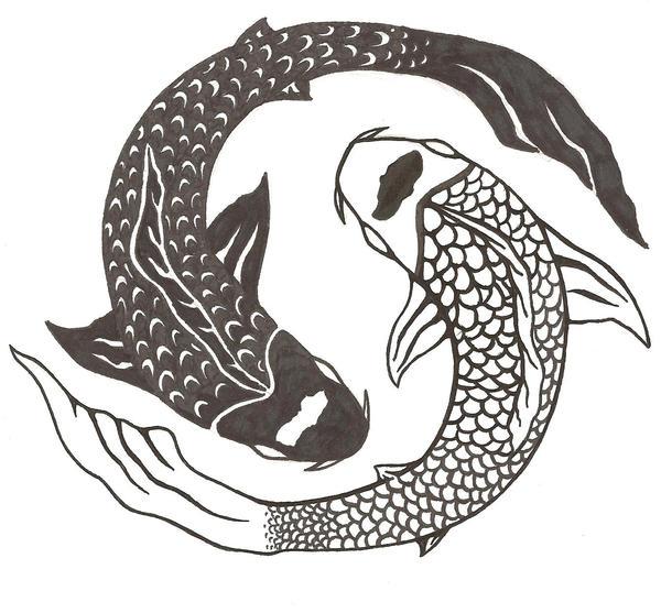 yin yang koi tattoo by tsukiohkami on deviantart. Black Bedroom Furniture Sets. Home Design Ideas