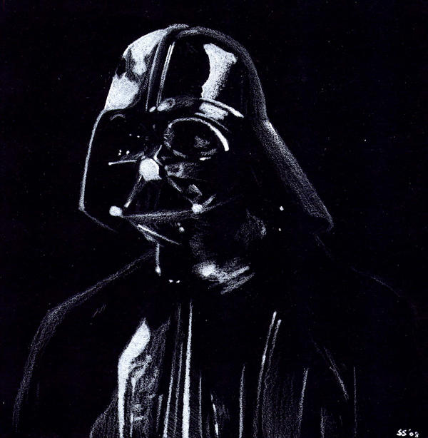 Black and White Darth Vader by otakuhobbit