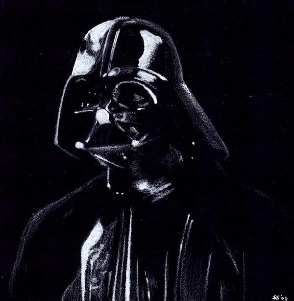 Black and White Darth Vader by otakuhobbit