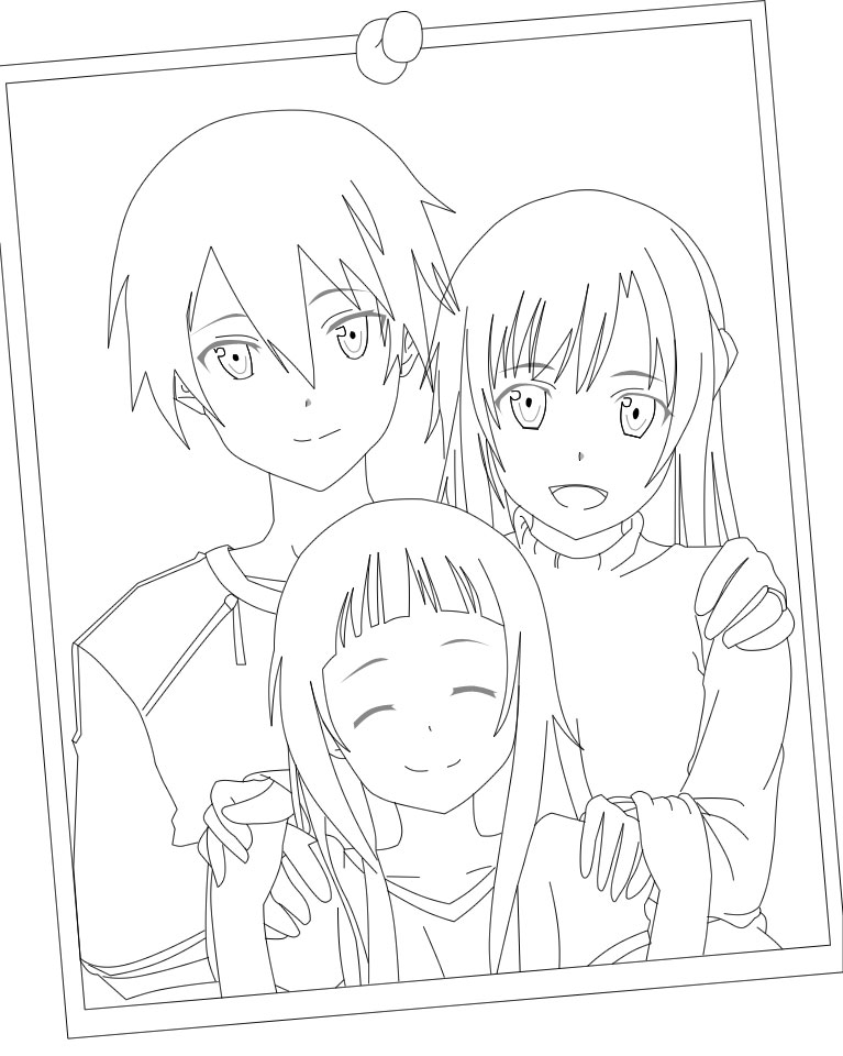 Kirito asuna and yui lineart by mastemrine on deviantart for Sword art online coloring pages