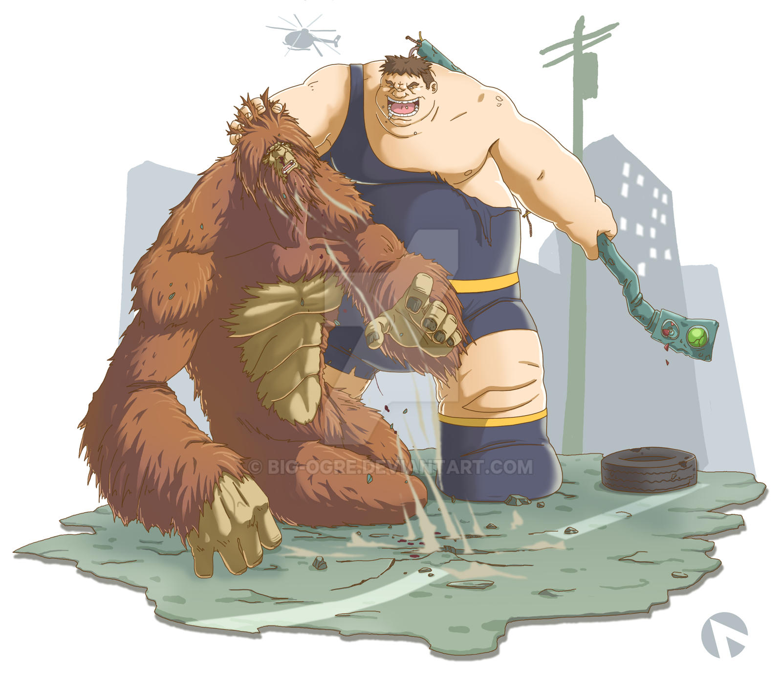 The Blob vs Sasquatch COLORED by Big-Ogre