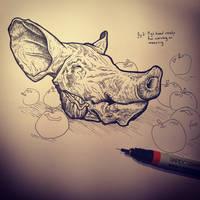 Pig head sketch by ChrisPanatier