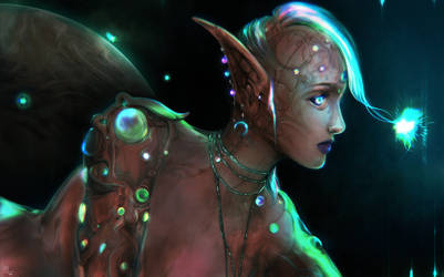 Fantasy Hairstylist Of Sci-fi Android Elf
