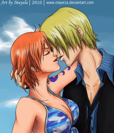 One Piece - Nami and Sanji by Maye1a