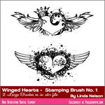 Photoshop Brushes Free crowned winged hearts