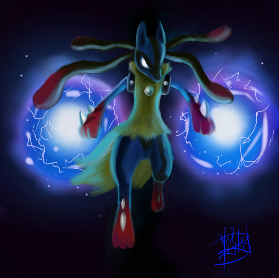 Mega Lucario Used Aura Sphere By Officialbigred