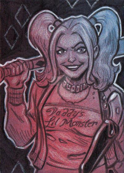 Harley Quinn Sketch Card by timshinn73