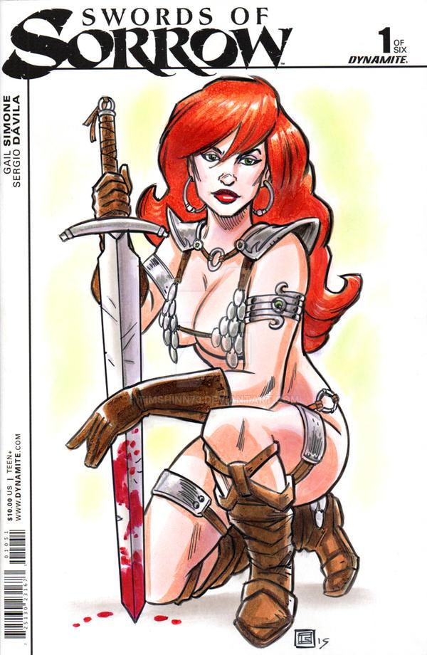 Swords Of Sorrow Red Sonja Sketch Cover by timshinn73