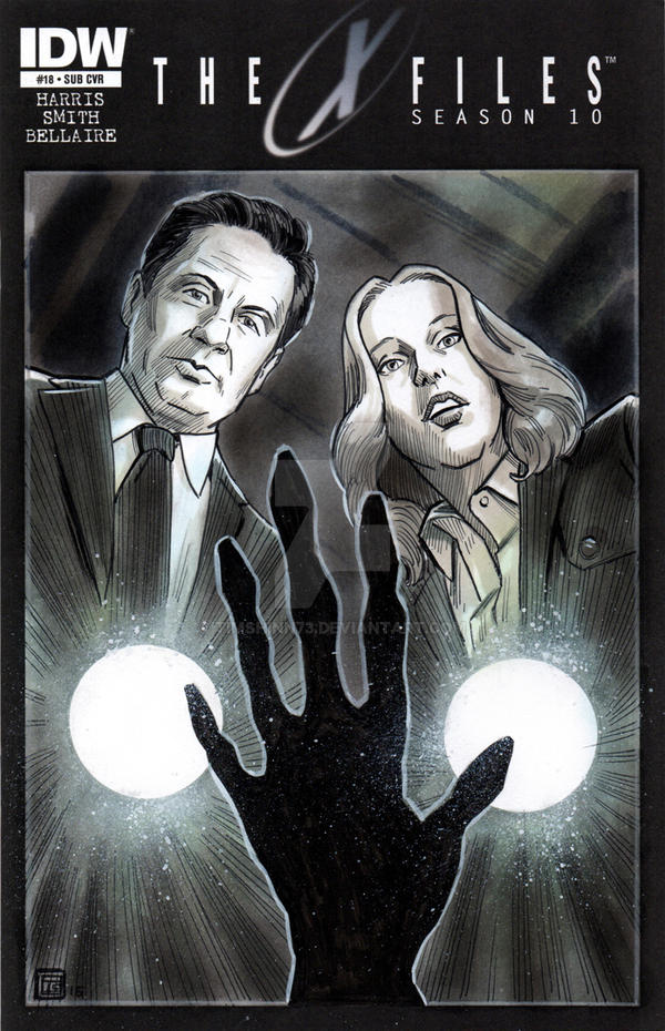 X-Files Season 10 Mulder and Scully Sketch Cover by timshinn73