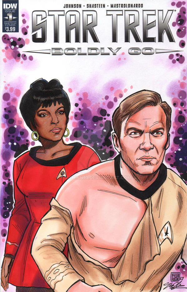 Star Trek Kirk and Uhura Sketch Cover Commission by timshinn73