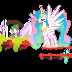 Celestia and Spike by theaceofspadez