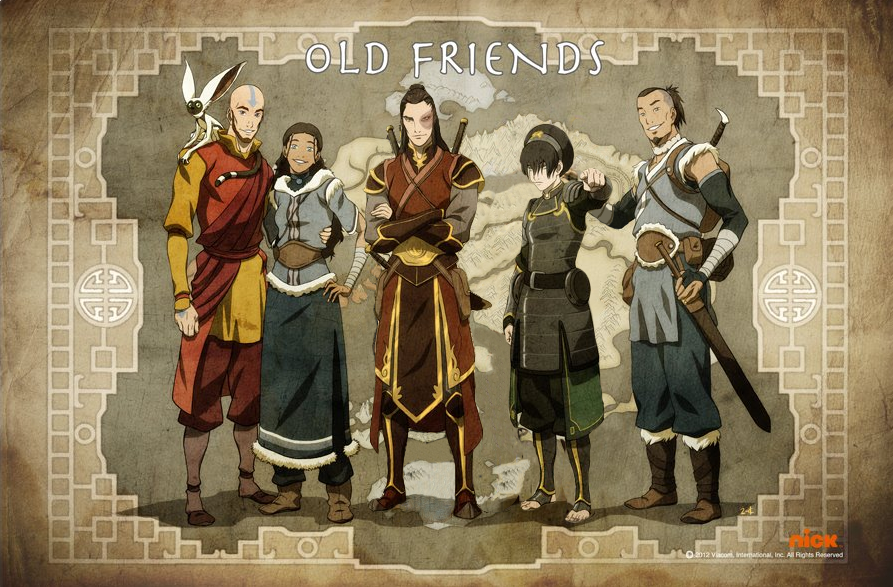 modified old friends poster toph sokka tokka by