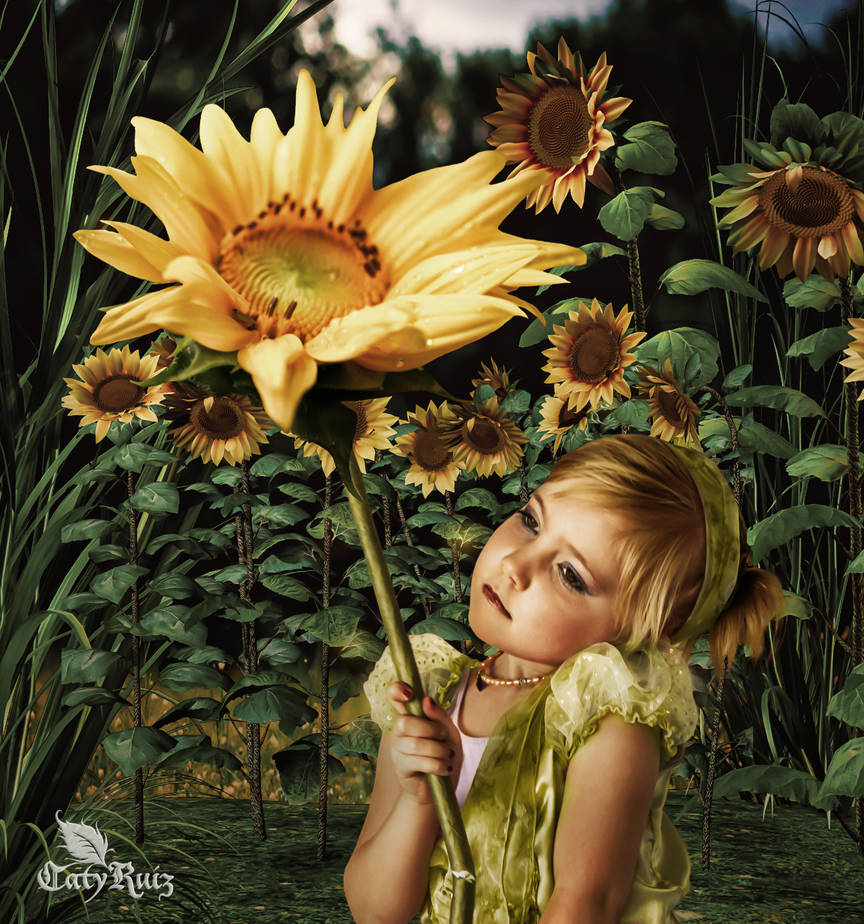 THE GIRL AND THE SUNFLOWER by CatyRuiz3