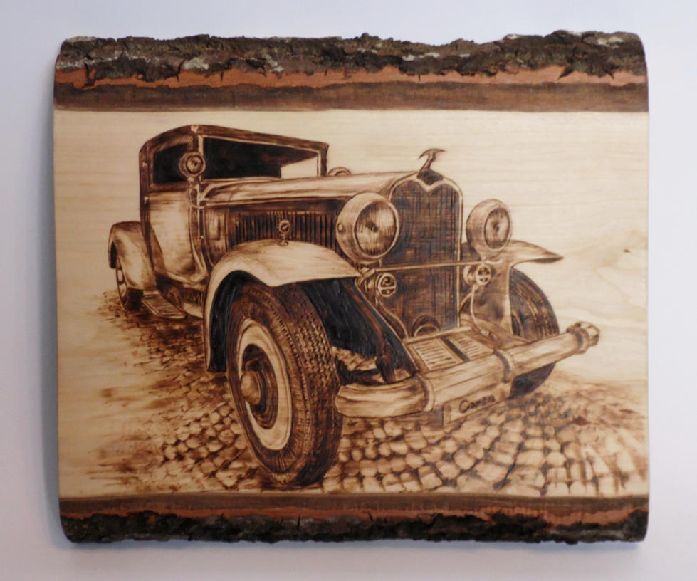 vintage car (pyrography woodburning) by Art-Caren
