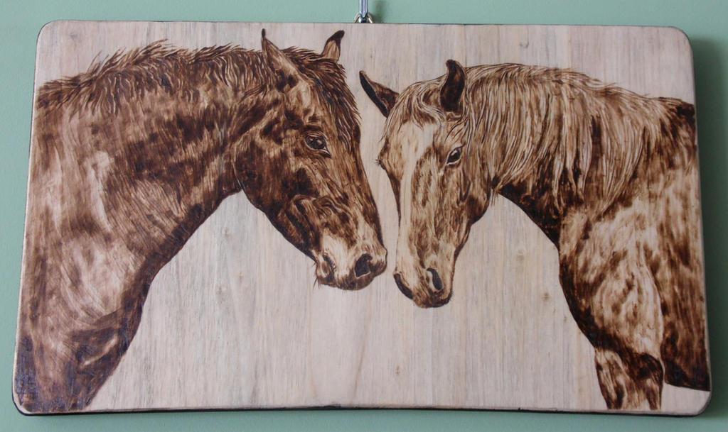 horses  pyrography woodburning by Art-Caren