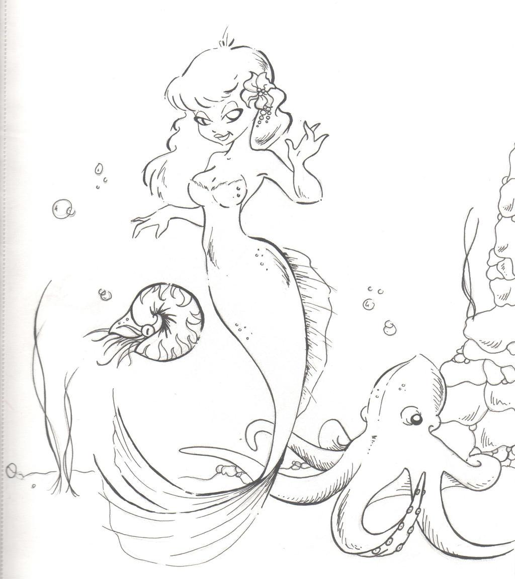 mermaid sketch by pinkbunnie on deviantart