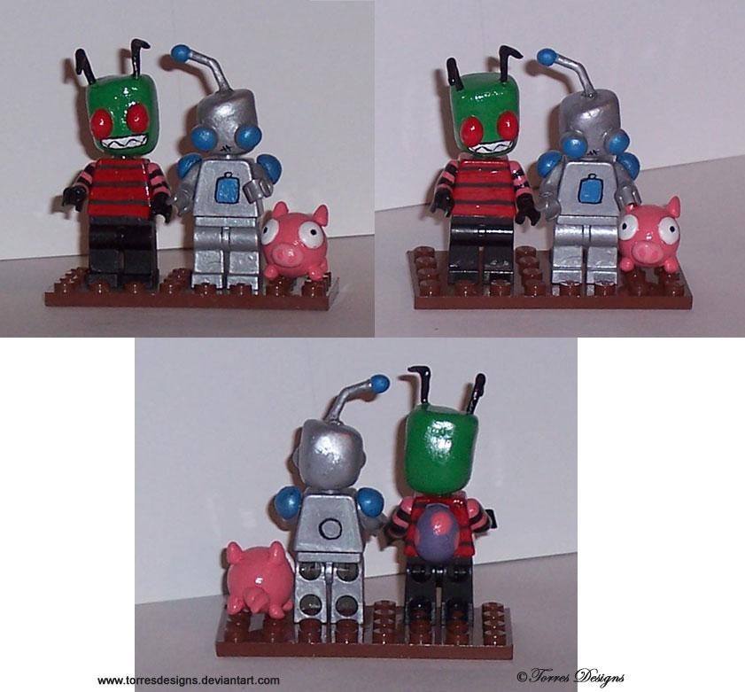 Custom Lego Invader Zim Gir and Pig OOAK by TorresDesigns