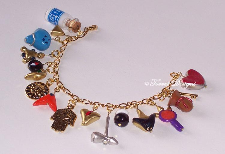 Ocarina of Time Gold Charm Bracelet Zelda OOAK by TorresDesigns