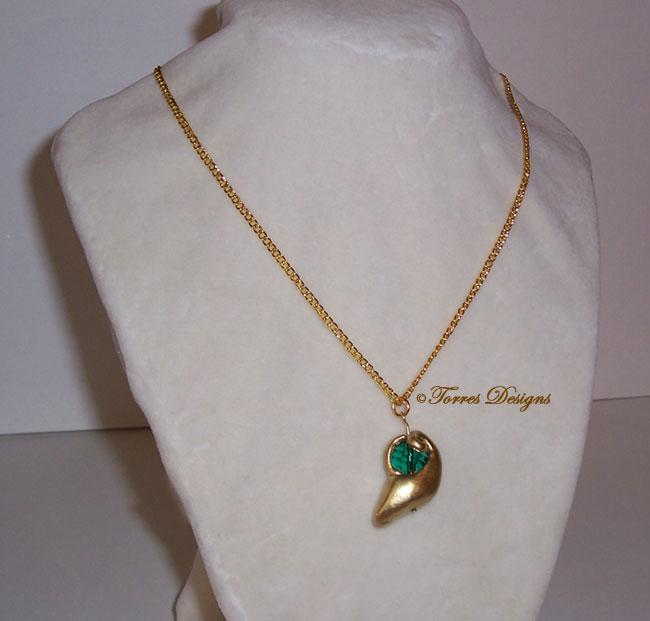 Kokiri Emerald Necklace Pendant Zelda OoT OOAK #5 by TorresDesigns