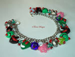 Invader Zim Bracelet Hand Sculpted Charms OOAK Red by TorresDesigns