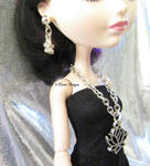 Doll Lotus Charm Pendant Necklace and Earrings Set