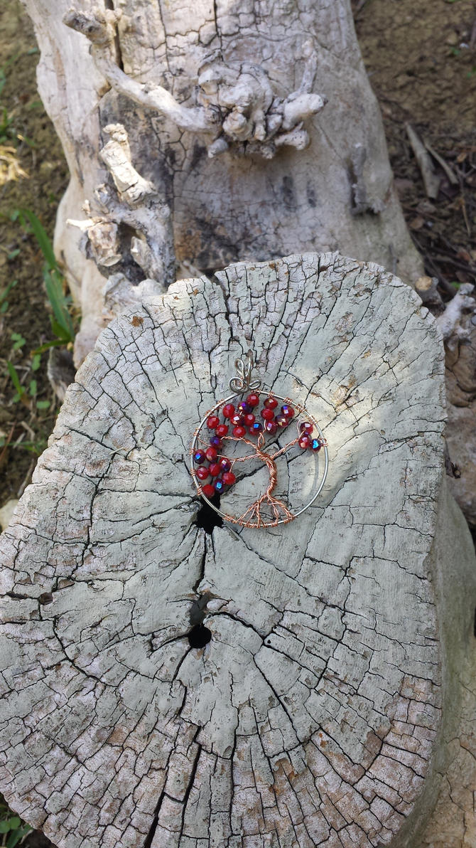 Red tree of life pendant by FairyRound121
