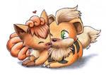 Vulpix and Growlithe Love