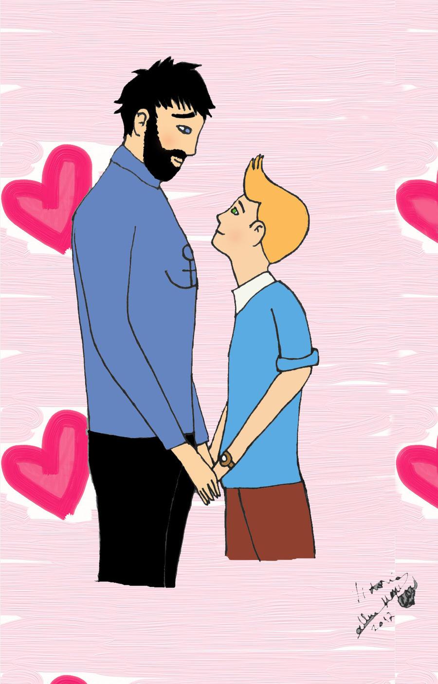 Haddock and Tintin by vickymyo on DeviantArt