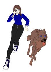 Request: Blue and Nymeria by AlphaSleepyLynx