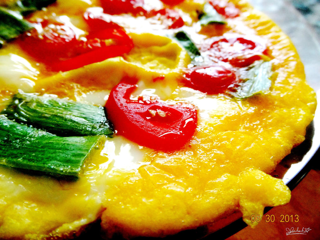 Fry Eggs with Tomatoes and Green Onion by linzy-yld