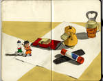 Still Life Sketch: Tools and Toys by SeaQuenchal