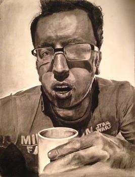 Self-portrait. Charcoal.