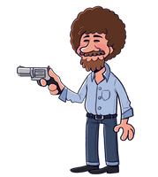 Bob Ross but with a gun by PiemationsArt