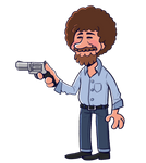 Bob Ross but with a gun