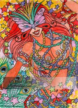 Aceo XR Mardi gras mermaid by sofianime