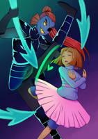 UT: Dancetale- Undyne V.S. Frisk by darlingGrim