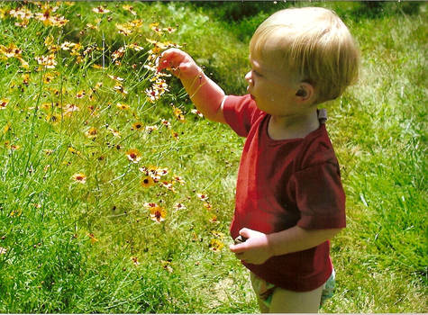 Aiden picking flowers