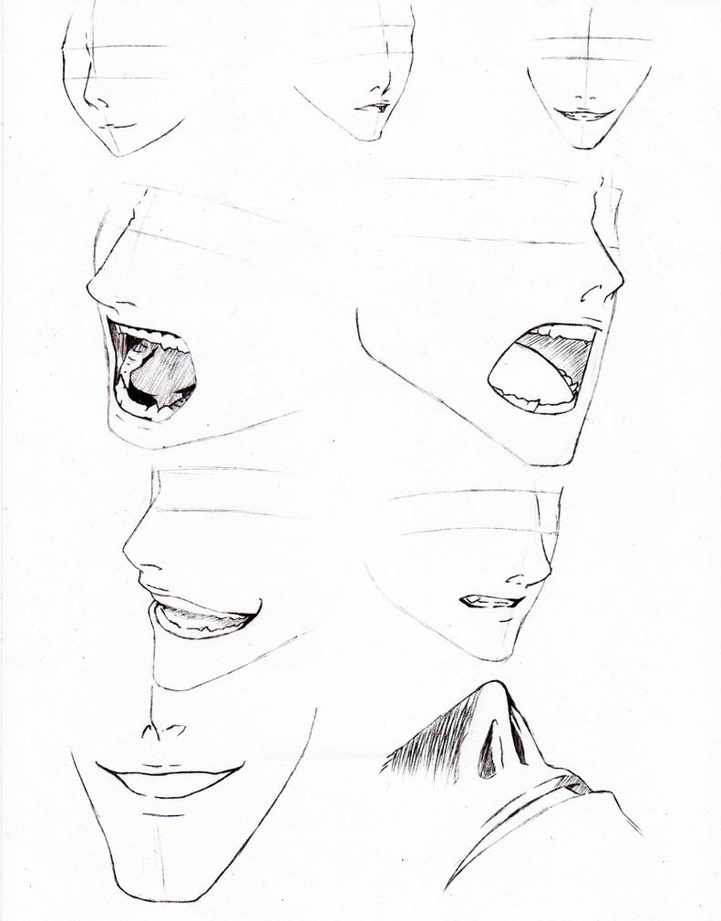 how to draw anime nose and mouth