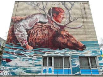 Mural about a Man with a Deer by Finten Medzhi by UAkimov09