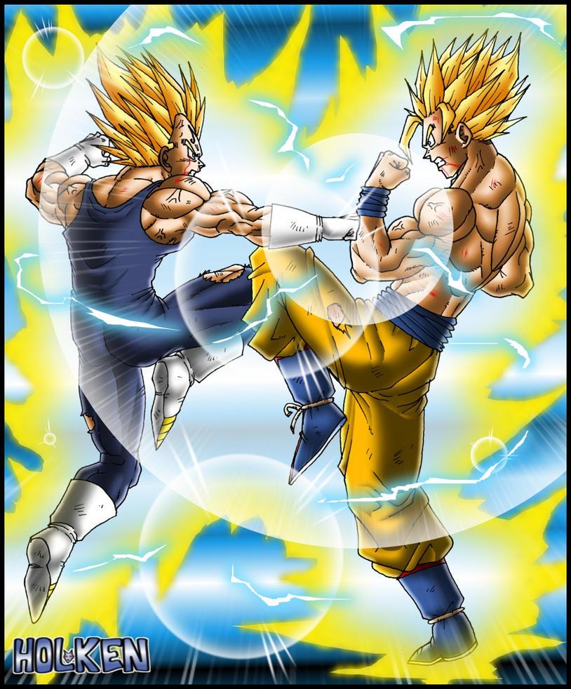 Goku Ssj2 vs Majin Vegeta Majin Vegeta vs Goku by