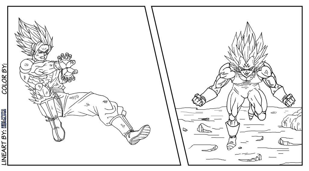 Majin Vegeta Vs Ssj2 Goku Lineart By Brusselthesaiyan On: -Lineart- Goku VS Majin Vegeta By DBZwarrior On DeviantArt