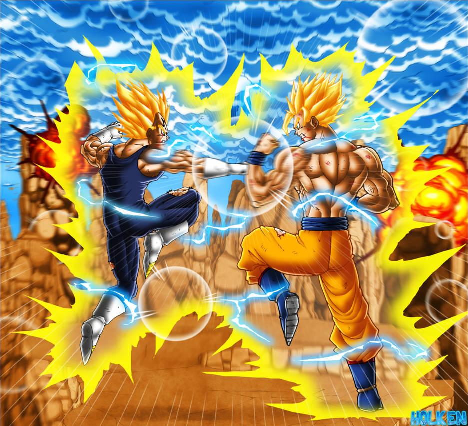 Majin Vegeta VS Goku V2 by DBZwarrior