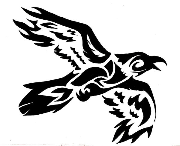 tribal flying crow commision by wolfsouled on deviantart rh deviantart com Celtic Crow Tattoo crow tattoo tribal