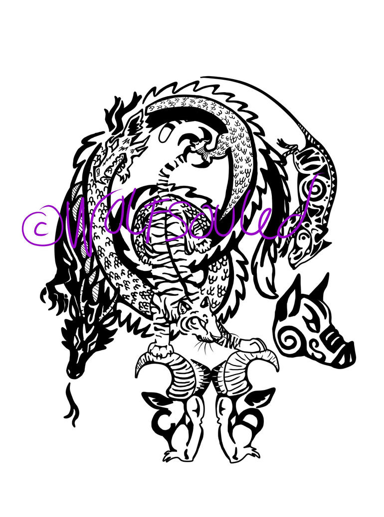 Chinese horoscope family tribal tattoo by wolfsouled on for Tribal family tattoo
